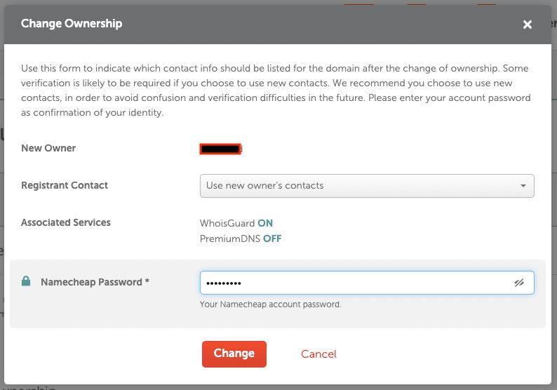 Ganti kepemilikan domain namecheap