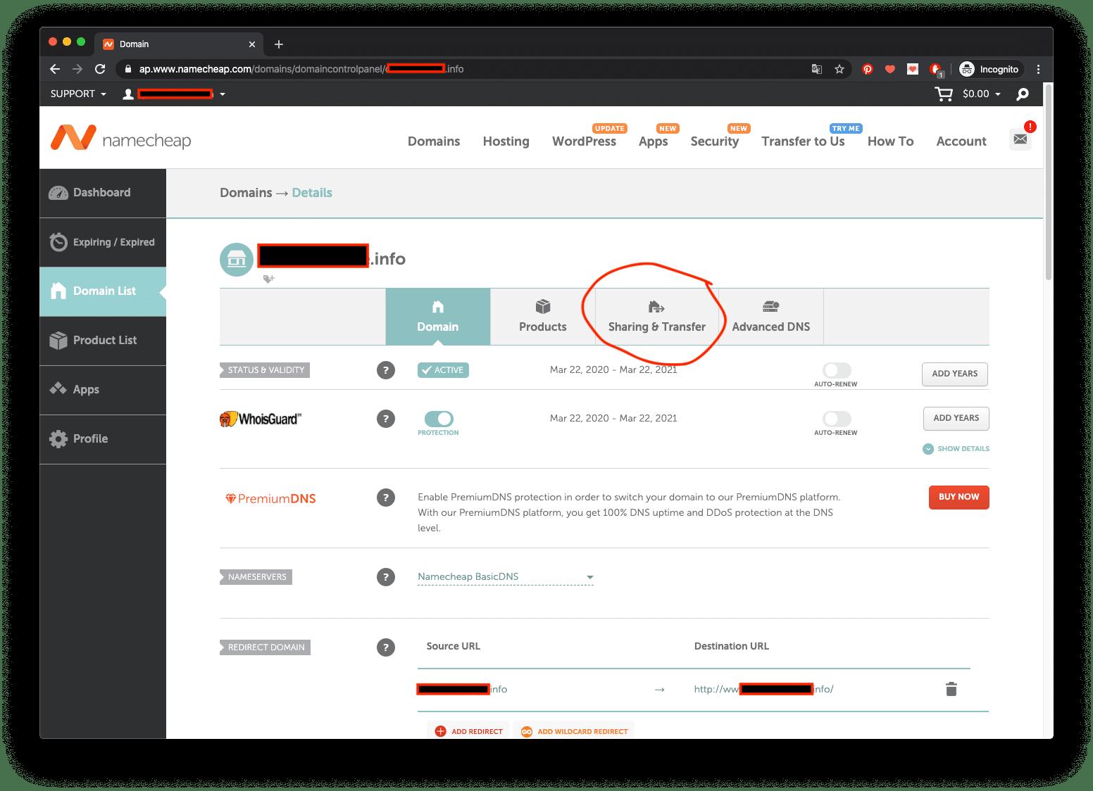 Transfer domain namecheap